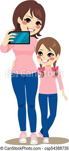 selfie, dochter, moeder - csp54388735