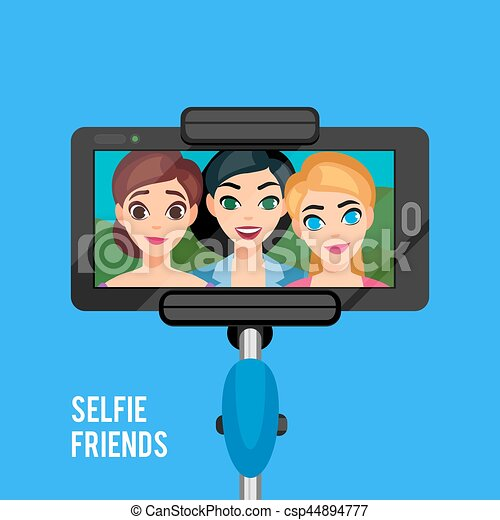 selfie photo template selfie photo template with young girls stick