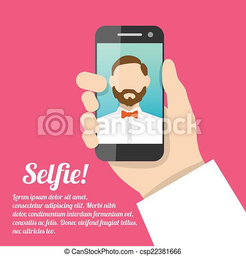 Selfie self portrait poster - csp22381666