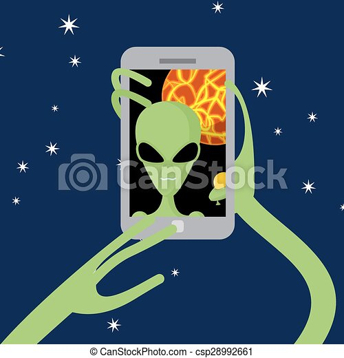 Selfie space. Alien shoots himself on phone against backdrop of  planet. Vector illustration. - csp28992661