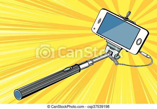 Selfie stick smartphone shooting - csp37539198