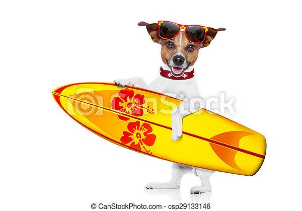 Autofoto de perro surfeando - csp29133146