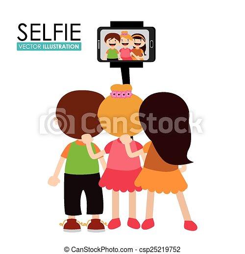 selfie, vecteur, conception, illustration. - csp25219752