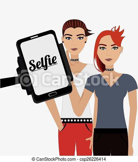 selfie, vecteur, conception, illustration. - csp26226414