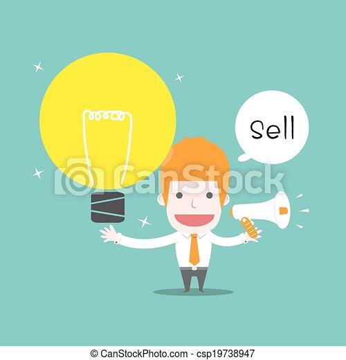 Sell Ideas Vector Cartoon Business