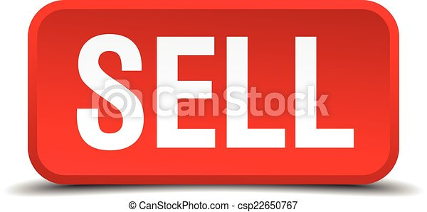 Sell red 3d square button isolated on white - csp22650767