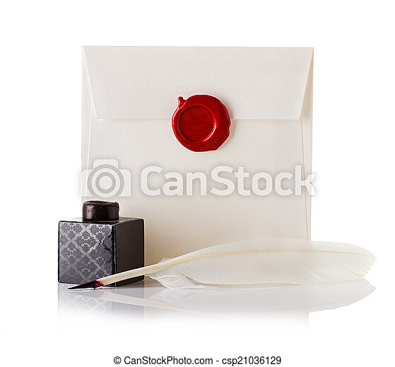 sellado, estampilla, cera, sobre, aislado, pluma, carta, sello, correo, blanco, o, púa - csp21036129