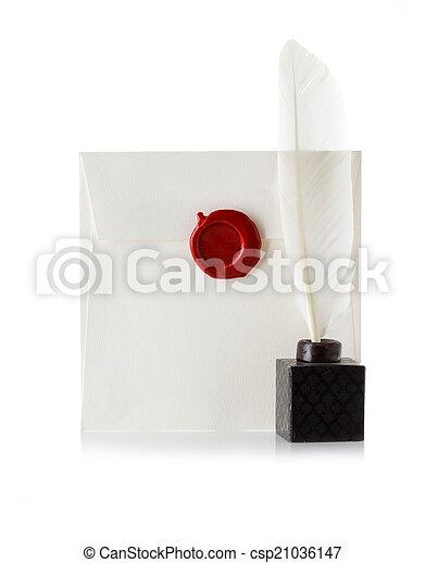 sellado, estampilla, cera, sobre, aislado, pluma, carta, sello, correo, blanco, o, púa - csp21036147