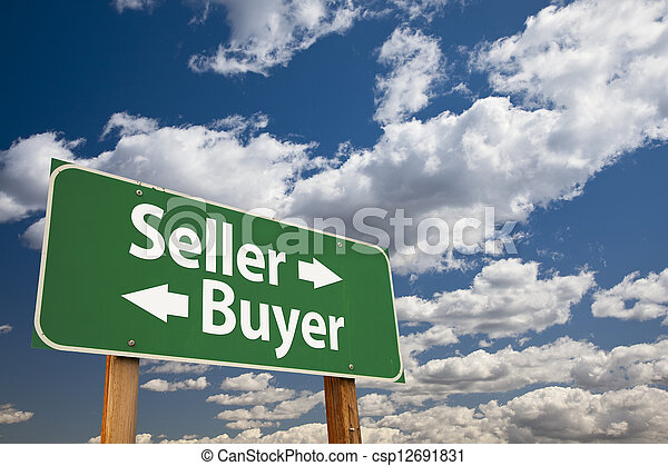 Seller, Buyer Green Road Sign Over Clouds - csp12691831