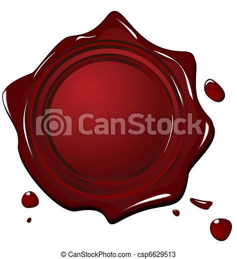 Ilustración de foca roja grunge de cera - csp6629513