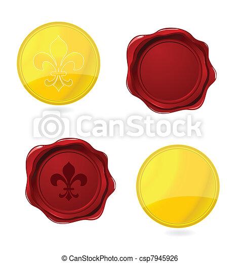 La elegancia presionó sellos y emblemas - csp7945926