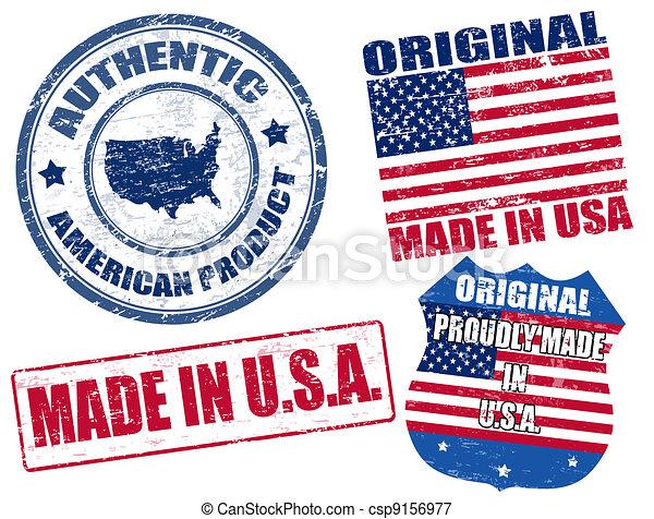 Hechos en sellos USA - csp9156977
