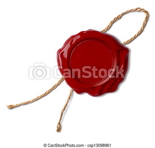 selo, cera, isolado, selo, ou, vermelho - csp13098961