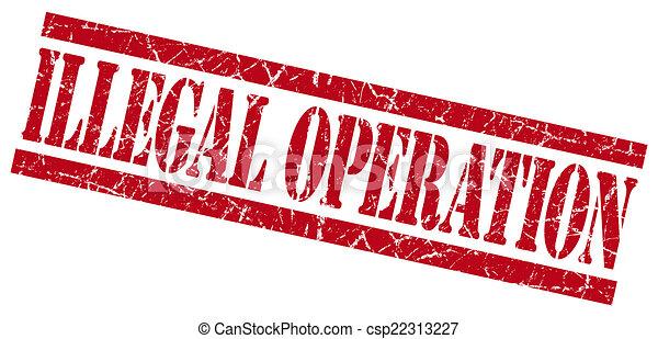 selo, ilegal, fundo, grungy, operação, branco vermelho - csp22313227