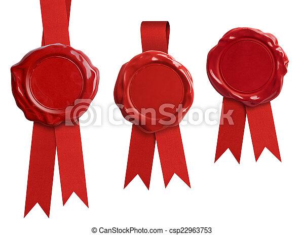 selo, isolado, cobrança, arco, vermelho, cera, signets, ou, fita - csp22963753