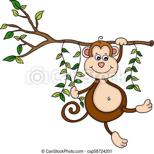 Mono colgando de un árbol en la selva - csp58724201