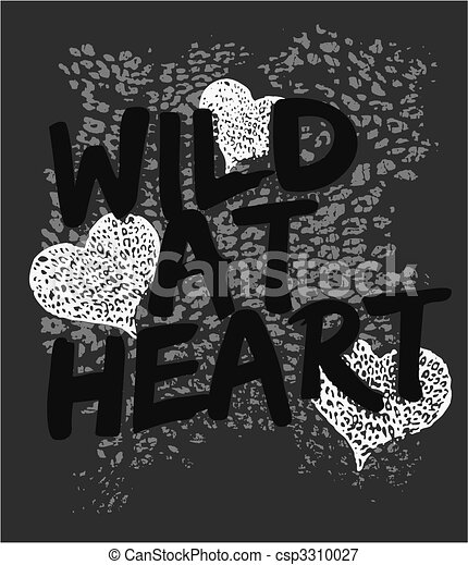 selvagem, coração, gráfico, impressão, animal - csp3310027
