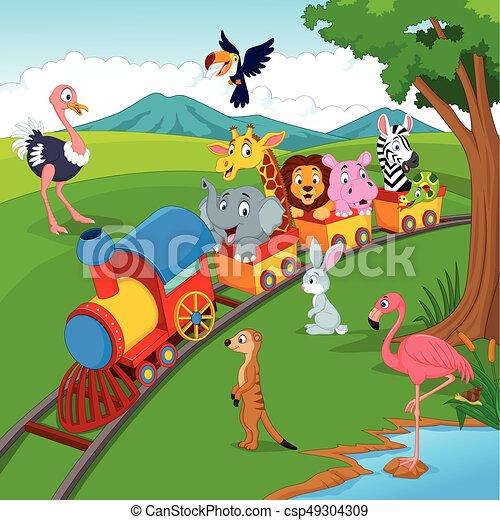 selvagem, ferrovia, trem, animais, caricatura - csp49304309