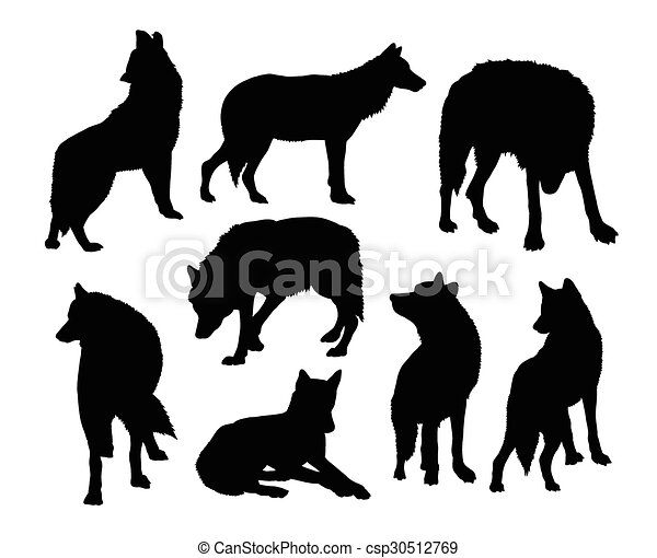 selvagem silhuetas lobo animal mascote teia uso bom desenho