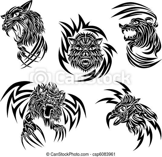 selvagem, tatuagem, animais - csp6083961