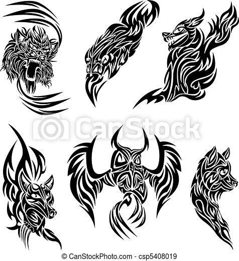 selvagem, tatuagem, animais - csp5408019