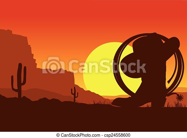 selvatico, laccio, ovest, deserto, americano, stivale, paesaggio, cowboy - csp24558600