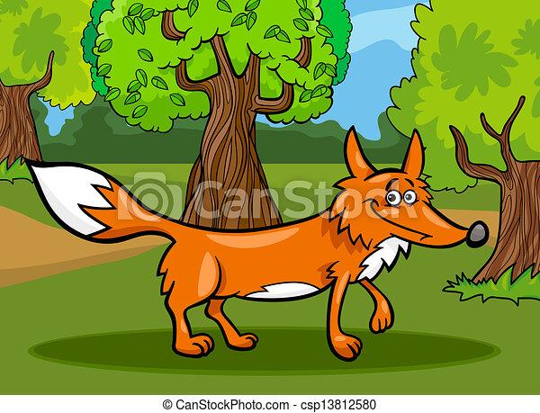 Selvatico volpe cartone animato illustrazione animale