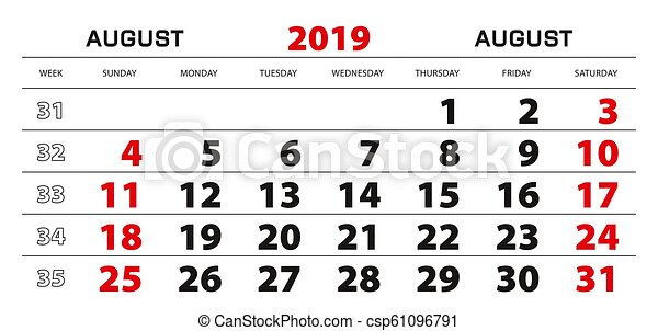 Semaine 34 Calendrier 2019.Semaine Aout Mur Debut 2019 Sunday Calendrier