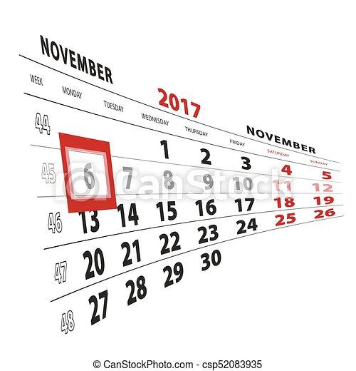 Semaine 45 Calendrier.Semaine Debuts Monday Mis Valeur 2017 6 Novembre Calendrier