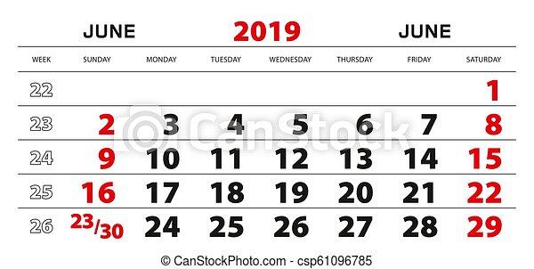 Semaine 2019 Calendrier.Semaine Juin Mur Debut 2019 Sunday Calendrier