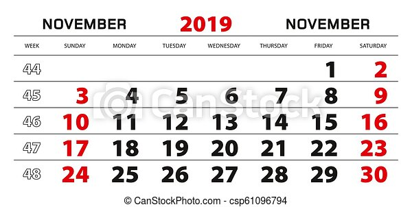 Semaine 45 Calendrier.Semaine Mur Debut Novembre 2019 Sunday Calendrier