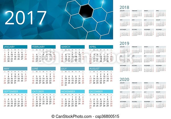 Semaines Calendrier 2020.Semaine Simple Debuts 2017 Vecteur Sunday 2019 Calendrier 2020 2018 Design