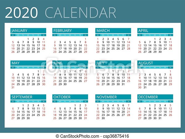 Semaines Calendrier 2020.Semaine Simple Debuts Vecteur Sunday Calendrier 2020 Design