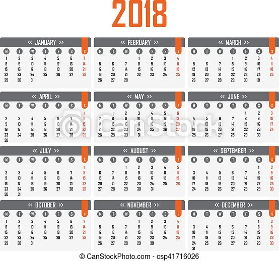 Semana Calendario.Semana Comienzos Calendario 2018 Lunes