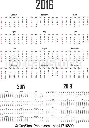 Calendario para 2016, 2017 y 2018. La semana empieza el domingo - csp41715890