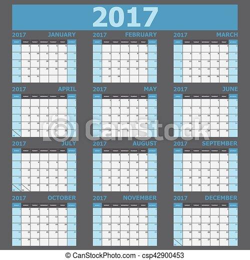 Calendario 2017 semana comienza el domingo - csp42900453