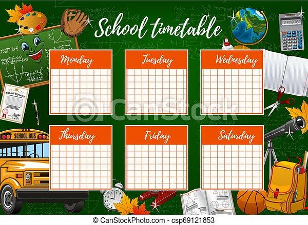 Horario escolar, horario de la semana, suministros de estudio - csp69121853