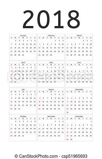 Calendario Del Ano 1965.Semana Simple Comienzos Domingo 2018 Ano Calendario Style