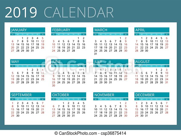 Calendario 2019 Por Semanas.Semana Simple Comienzos Vector Sunday Calendario 2019 Design