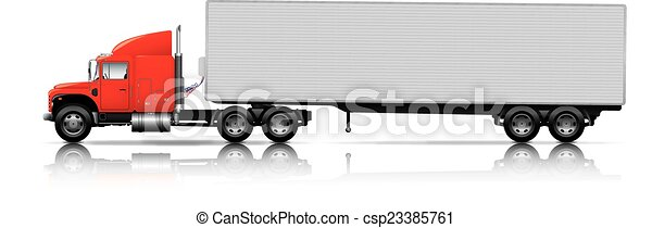 semi-camion, roulotte, rosso - csp23385761
