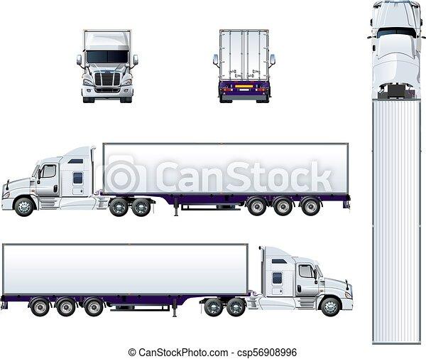 semi, isolé, vecteur, camion, gabarit, blanc - csp56908996