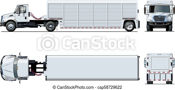 semi, isolé, vecteur, camion, gabarit, blanc - csp58729622