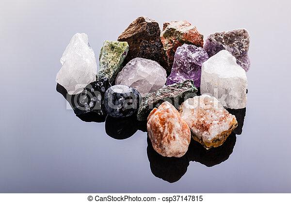 semi-precious gems heap - csp37147815