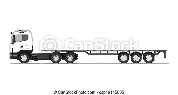 Semi remorque camion plate forme render platform - Dessin de camion semi remorque ...