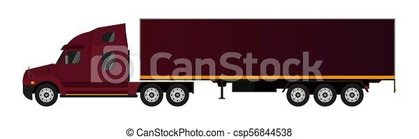 semi-remorque, plat, truck., illustration., vecteur - csp56844538