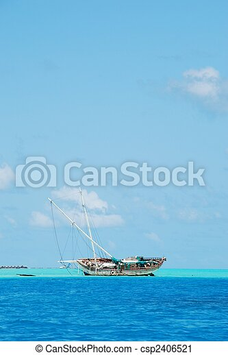 Semi-submerged typical ship on Maldives - csp2406521