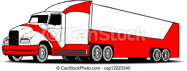 semi trailer truck rh canstockphoto com tractor trailer clip art black and white tractor trailer clipart black and white