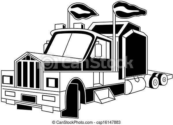 semi truck illustration of semi trailer truck isolated on vector rh canstockphoto com semi truck vector art free semi truck vector free download
