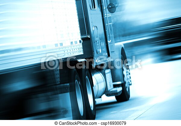 Semi Truck in Motion - csp16930079