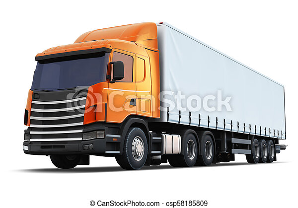 Semi-truck isolated on white background - csp58185809